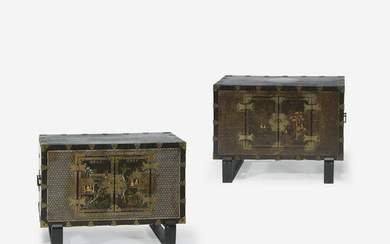 A pair of Korean mother of pearl-inlaid wood chests