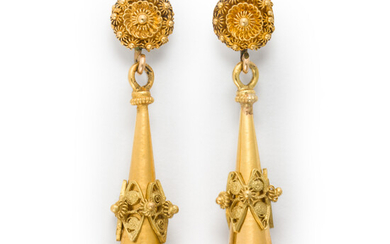 A pair of Victorian gold pendant earrings