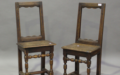 A pair of late 17th/18th century French oak children's chairs, the open backs and solid seats o