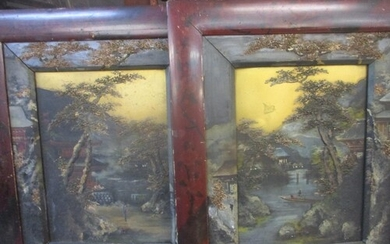 A pair of mid 20th century Oriental oils on board with the p...