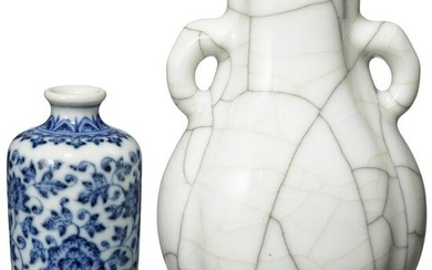 A small Qianlong Ge-kiln vase and a blue and white