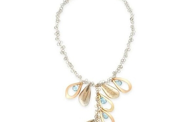 AN AQUAMARINE AND DIAMOND NECKLACE formed of