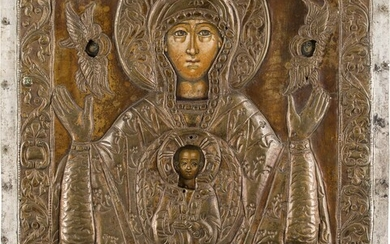 AN ICON SHOWING THE MOTHER OF GOD OF THE SIGN...