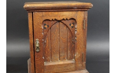 ARTS & CRAFTS OAK TABLE CABINET probably a smokers cabinet, ...
