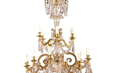 An Italian gilt-bronze and cut-glass 18-light chandelier, probably 19th century