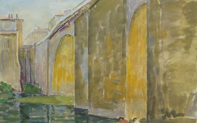 British School, late 20th Century- A town bridge, with two figures seated by the riverside; watercolour, 25 x 33 cm