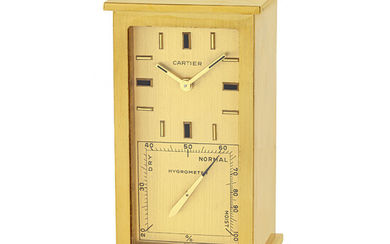 CARTIER, BRASS DESK CLOCK WITH HYGROMETER AND THERMOMETER