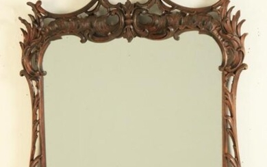 CHINESE CHIPPENDALE STYLE CARVED WALNUT MIRROR