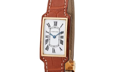 Cartier France. Attractive and Glamorous Louis Cartier Tank Wristwatch in Yellow Gold, With Full Leather Strap