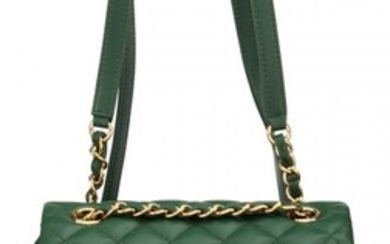 Chanel Green Quilted Lambskin Leather Backpack w