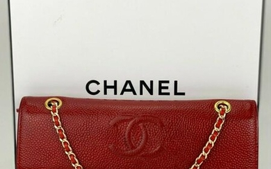 Chanel Red Caviar Leather w/ Golden Hardware Wallet on