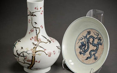 Chinese 'Famille Rose' Bottle-Form Vase and a Blue and White and Iron-Red 'Dragon' Shallow Dish, 20th Century