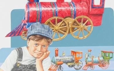 """Chris Calle (B. 1961) """"Boy with Old Trains"""""""