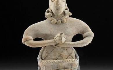 Colima Pottery Standing Female Figure w/ Incised Skirt