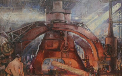 Continental School, The furnace, oil on canvas