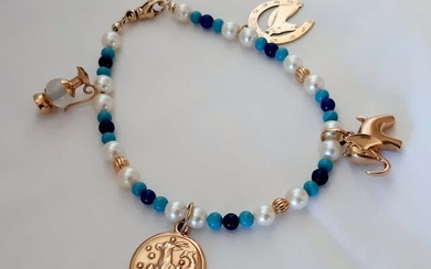 Fortuna - Charms - 18 kt. Yellow gold - Necklace with pendant - Lapis lazuli, Turquoise, Akoya Pearl