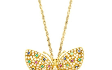 Gold, Diamond and Gem-Set Butterfly Pendant-Brooch with Chain
