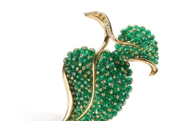 Gold, Emerald and Colored Diamond Brooch, Fred Leighton