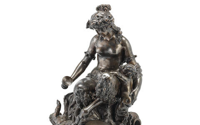Henri Picard (French, fl. 1831-1864): A patinated bronze bacchanalian figural group of a female satyr and two infant satyrs cast after Claude Michel called 'Clodion' (French, 1738-1814)