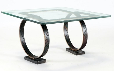 IRON AND GLASS LOOP STYLE COFFEE TABLE