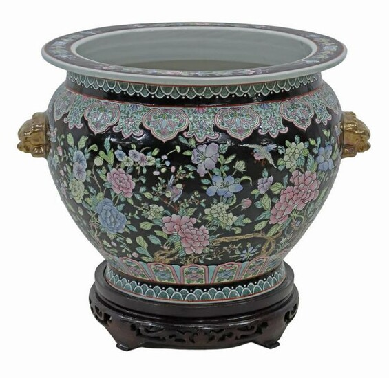 LARGE CHINESE FAMILLE NOIR FISHBOWL ON STAND