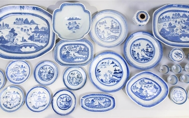 LARGE GROUP OF CANTONESE BLUE AND WHITE PORCELAIN