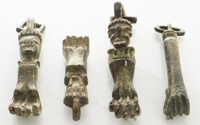 Large Carved Stone Figa Hand Ornaments, Group of 4