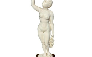Late 19th Century Ivory Figure Of A Girl Holding Grapes 32cm...
