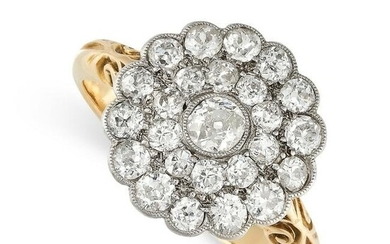 NO RESERVE - A DIAMOND CLUSTER DRESS RING in 18ct
