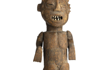 Old African Carved Wood Statuette w/ Moving Hands & Teeth Made of Real Teeth, Uniquely Primitive Item