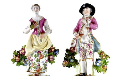 PAIR OF CHELESA PORCELAIN MALE AND FEMALE FIGURES