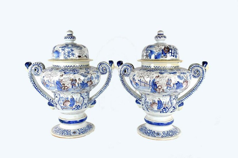 PAIR OF FRENCH FAIENCE COVERED VASES