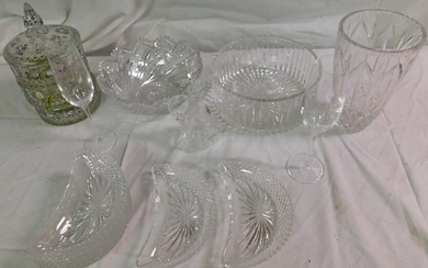 Pattern Glass Vases, Covered Jar, & As Is Cut Bowl