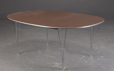 Piet Hein & Bruno Mathsson. Super Ellipse table with extension leaves (3)