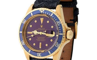 Rolex. Attractive and Charming Submariner Automatic Wristwatch in Yellow Gold, Reference 1680, with Tropical Purple Dial