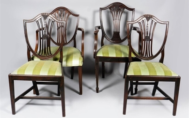 SET OF FOUR FEDERAL MAHOGANY SHIELD BACK CHAIRS