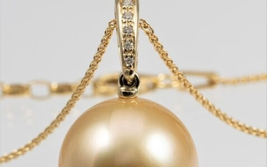 South sea pearl necklace in 14kt gold with diamonds 0.04ct