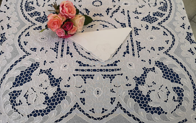 Spectacular Tablecloth x12 large size 170x375 cm in linen with Intaglio embroidery and satin stitch - Linen