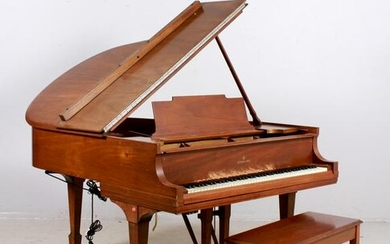 Steinway and Sons walnut baby grand piano w/ bench