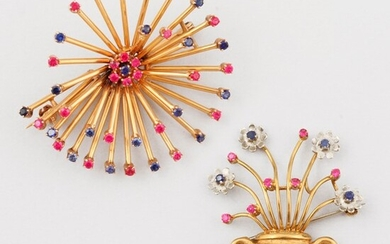 TWO CORAL, SYNTHETIC GEM AND GOLD BROOCHES