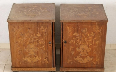 Two bedside tables with marquetry