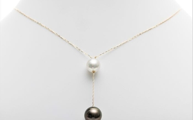 United Pearl - 10x13mm Tahitian and White South Sea Pearls - 18 kt. Yellow gold - Necklace