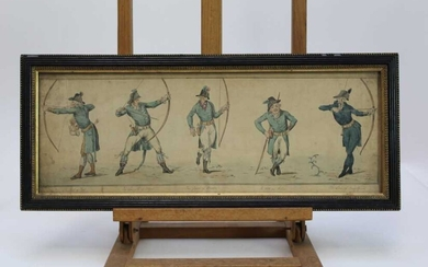 19th century English School, pen and ink drawing - The Graces of Archery, inscribed, in glazed frame, 18.5cm x 52.5cm