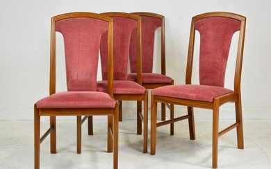 4 Upholstered High Back Mid Century Dining Chairs