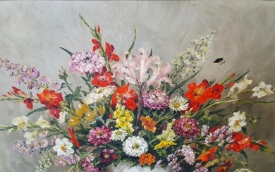 A 20th Century Oil on Canvas Still Life of flowers in a vase...