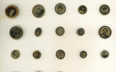 A CARD OF DIVISION THREE PHOTOGRAPHIC HEAD BUTTONS