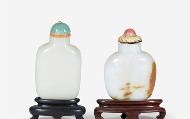 A Chinese white jade snuff bottle and a jadeite...