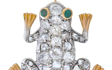 A DIAMOND SET FROG BROOCH, realistically modelled as a frog,...