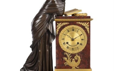 A FRENCH EMPIRE PATINATED BRONZE AND ORMOLU MOUNTED ROSSO FRANCIA MARBLE FIGURAL MANTEL CLOCK