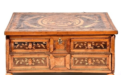 A French straw work sewing box, early 19th century, with fit...